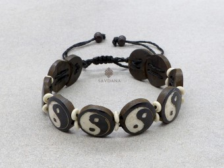 BrD389 Bracelet Tibétain Os de Buffle Yin Yang