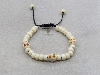 BrD390 Bracelet Mala Tibétain Crâne Tetes de Mort