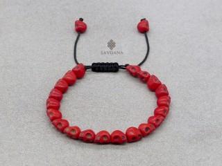 BrD394 Bracelet Mala Tibétain Crâne Tetes de Mort Rouges