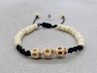 BrD395 Bracelet Mala Tibétain Crâne Tetes de Mort