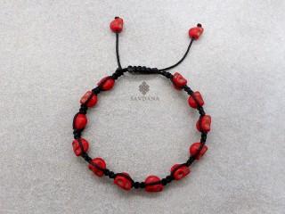 BrD396 Bracelet Mala Tibétain Crâne Tetes de Mort Rouges