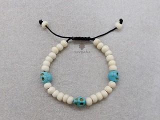 BrD393 Bracelet Mala Tibétain Crâne Tetes de Mort Bleues