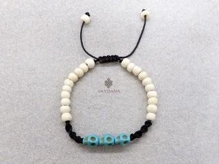 BrD397 Bracelet Mala Tibétain Crâne Tetes de Mort Bleues