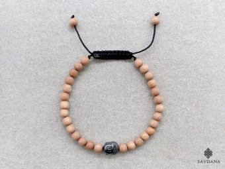 BrMala425 Bracelet Mala de Prières Tibétain Bois Bouddha