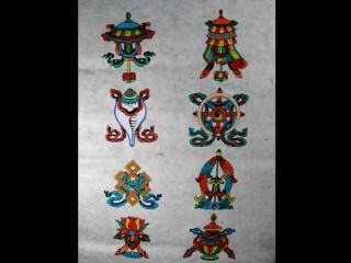 AF39 Affiche Tibétaine Papier Népalais Signes Auspicieux du Bouddhisme Astamangala