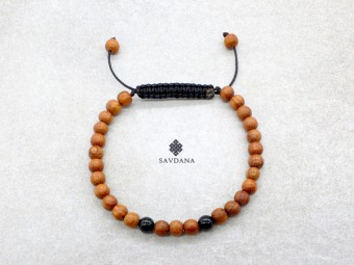 BrMala344 Bracelet Mala de Prières Tibétain Bois Onyx