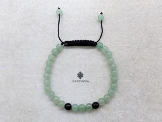 BrMala427 Bracelet Mala de Prières Tibétain Aventurine Onyx