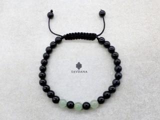 BrMala428 Bracelet Mala de Prières Tibétain Onyx Aventurine