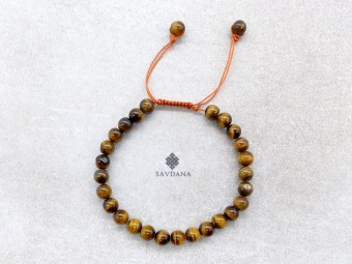 BrMala429 Bracelet Mala de Prières Tibétain Oeil de Tigre