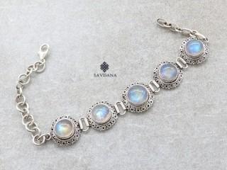 BrA68 Bracelet Argent Massif Pierre de Lune