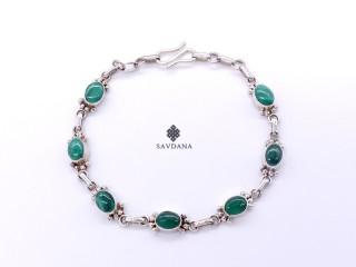 BrA122 Bracelet Argent Massif Malachite