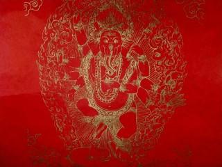 AF41 Affiche Tibétaine Papier Népalais Ganesh