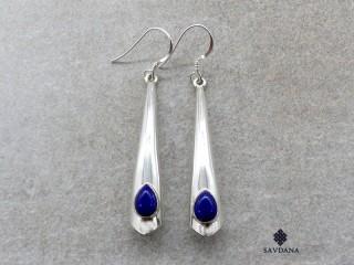 BdOA219 Boucles d'Oreille Argent Massif Lapis Lazuli. Longueur 5,5 cm