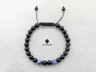 BrMala436 Bracelet Mala de Prières Tibétain Bois Onyx Mat Sodalite