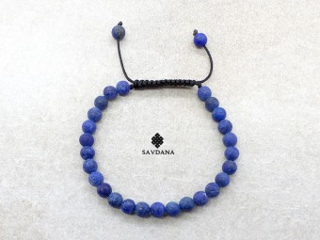 BrMala441 Bracelet Mala de Prières Tibétain Lapis Lazuli Mat
