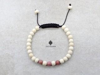 BrMala371 Bracelet Mala de Prières Tibétain Bois Jaspe