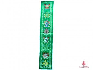 TPB59 Tissu Tibétain Traditionnel Vert Signes Auspicieux du Bouddhisme