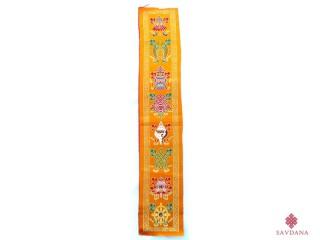 TPB60 Tissu Tibétain Traditionnel Jaune Signes Auspicieux du Bouddhisme