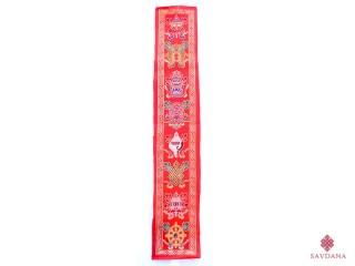 TPB62 Tissu Tibétain Traditionnel Rouge Signes Auspicieux du Bouddhisme