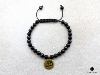 BrMala444 Bracelet Mala Onyx Om