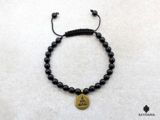 BrMala445 Bracelet Mala de Prières Tibétain Onyx Bouddha