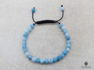 BrMala446 Bracelet Mala de Prières Tibétain Agate Bleue Fissurée
