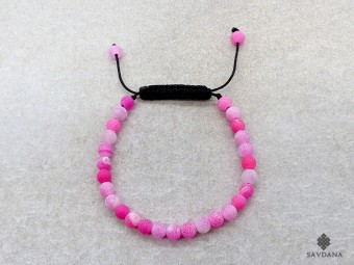 BrMala447 Bracelet Mala de Prières Tibétain Agate Rose Fissurée