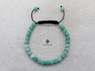 BrMala448 Bracelet Mala de Prières Tibétain Agate Verte Fissurée