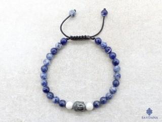 BrMala450 Bracelet Mala de Prières Tibétain Sodalite Howlite Bouddha