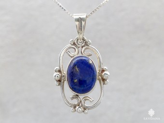 PA105 Pendentif Argent Massif Lapis Lazuli