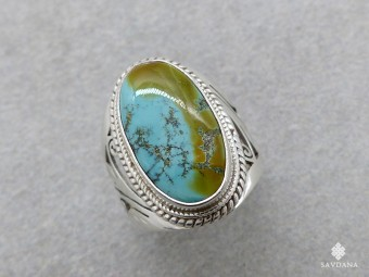 BA290 Bague Argent Massif Turquoise. Taille 61
