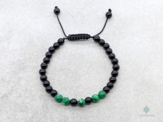 BrMala293 Bracelet Mala de Prières Tibétain Onyx Malachite