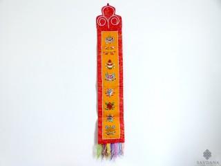 BB53 Bannière Tibétaine Signes Auspicieux du Bouddhisme