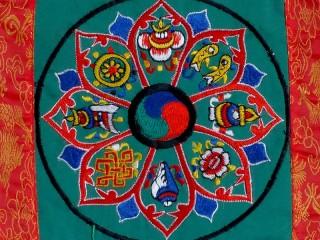 BB89 Bannière Tibétaine Signes Auspicieux du Bouddhisme