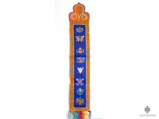 BB100 Bannière Tibétaine Signes Auspicieux du Bouddhisme