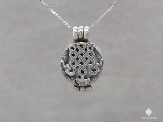 PA498 Pendentif Amulette Ghau Argent Massif Noeud Sans Fin