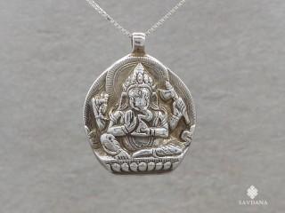PA93 Pendentif Argent Massif Om Ganesh