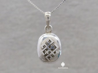 PA628 Pendentif Amulette Ghau Argent Massif Noeud sans Fin