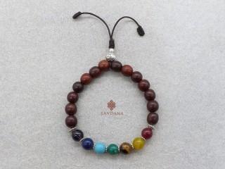 BrMala456 Bracelet Mala de Prières Tibétain 7 Chakras Bois de Rose