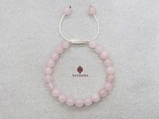 BrMala459 Bracelet Mala Quartz Rose