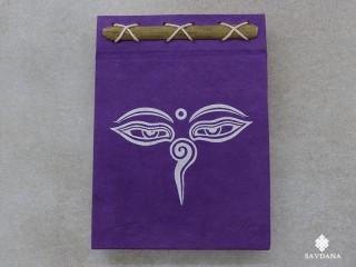CrA225 Carnet Artisanal Népalais Yeux de Bouddha