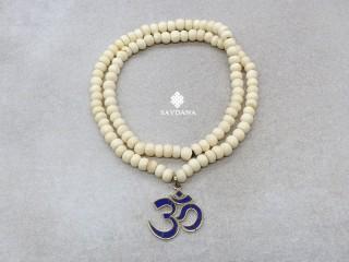 Mala152 Mala de Prières Tibétain Os de Buffle Om