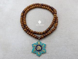 Mala156 Mala de Prières Tibétain Os de Buffle Mantra Om