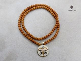 Mala158 Mala de Prières Tibétain Os de Buffle Bois de Santal Mantra Om