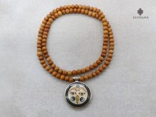 Mala159 Mala de Prières Tibétain Bois de Santal Om Yeux de Bouddha Yin Yang