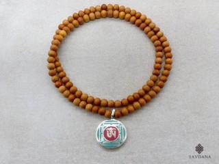 Mala160 Mala de Prières Tibétain Bois de Santal Om