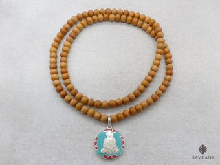 Mala162 Mala de Prières Tibétain Bois de Santal Bouddha