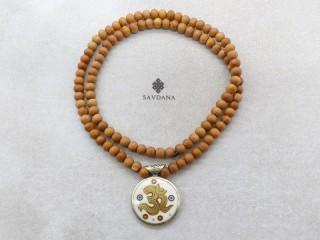 Mala163 Mala de Prières Tibétain Bois de Santal Mantra Om