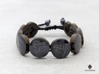 BrD379 Bracelet Tibétain Astamangala Os de Buffle