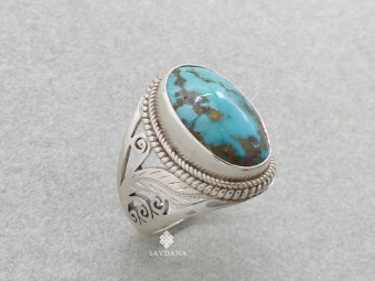 BA341 Bague Argent Massif Turquoise. Taille 61